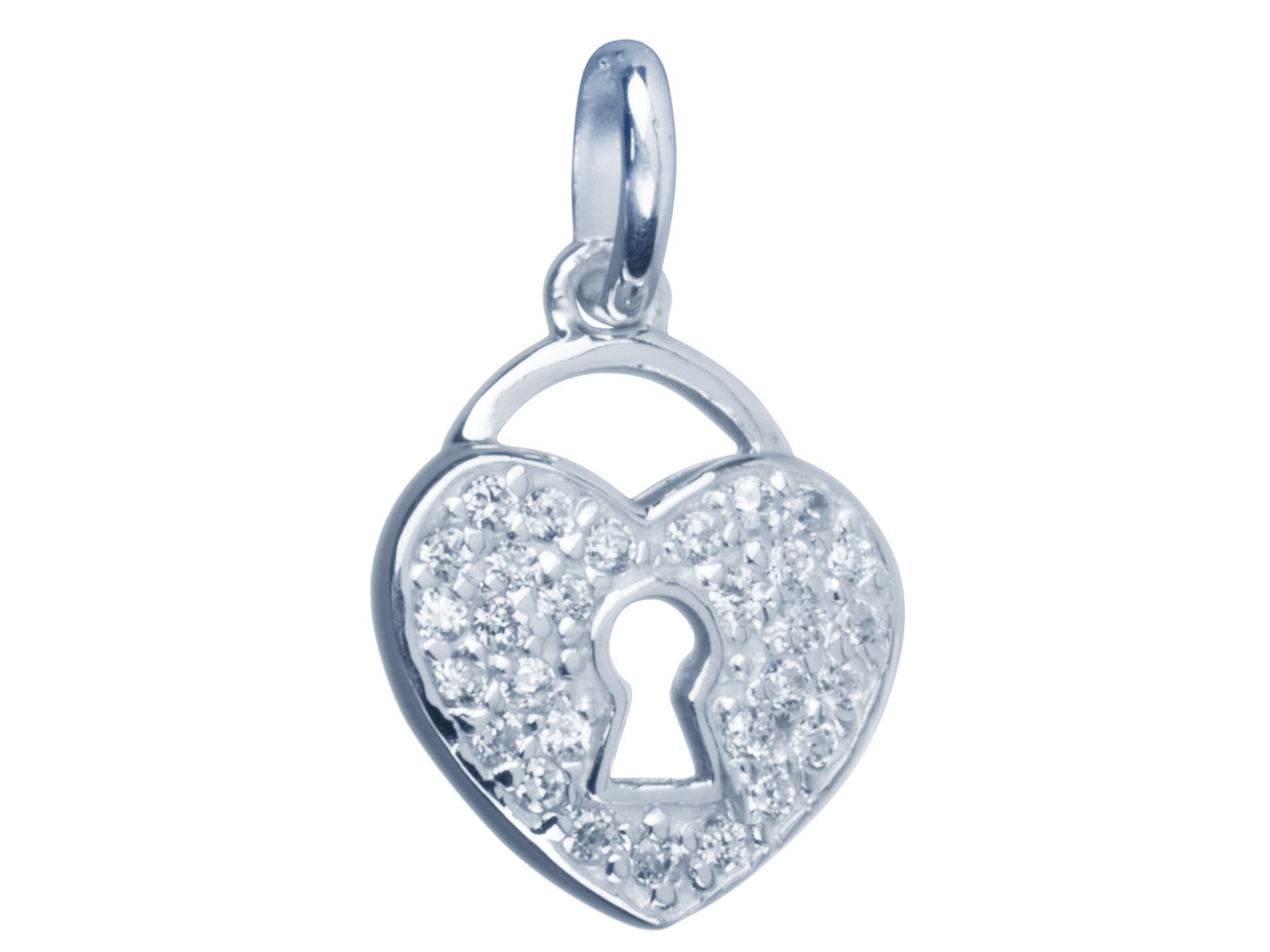 Sterling Silver Pendant            Cubic Zirconia Padlock Style