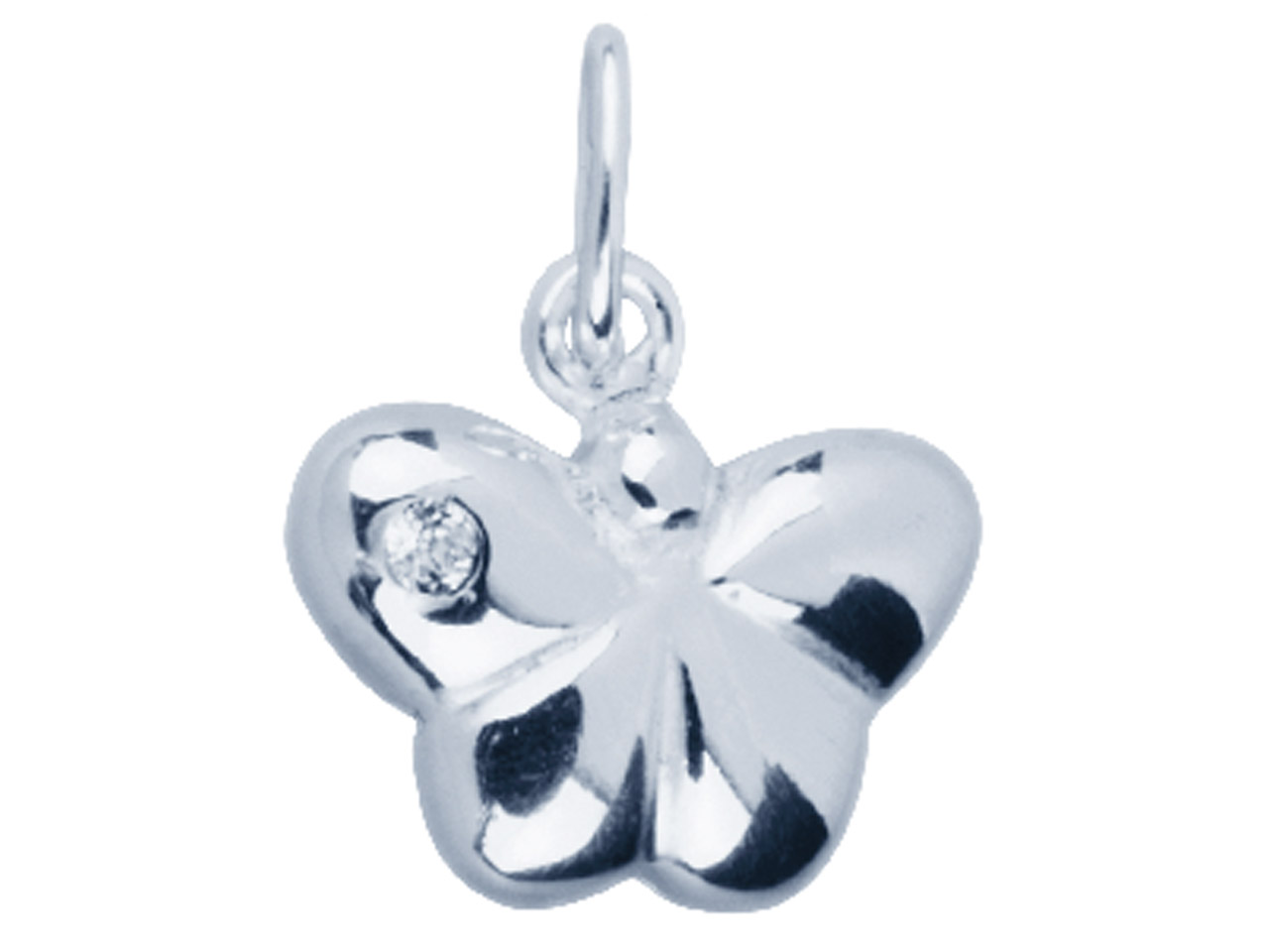 Sterling Silver Pendant            Cubic Zirconia Butterfly