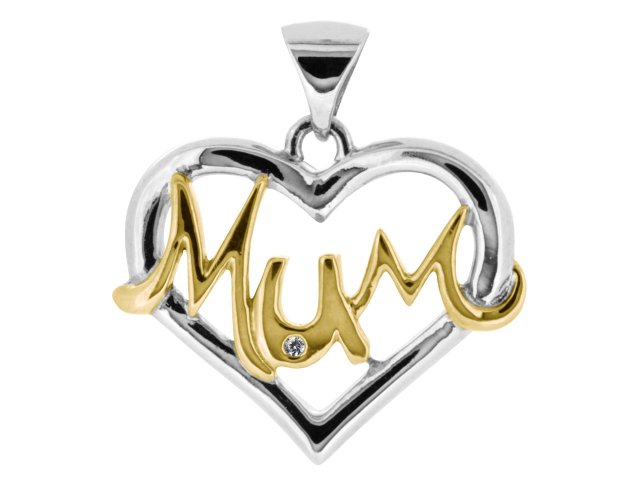 Sterling Silver Pendant 9ct Yellow And Rhodium Cubic Zirconia Mum 1mm Cubic Zirconia