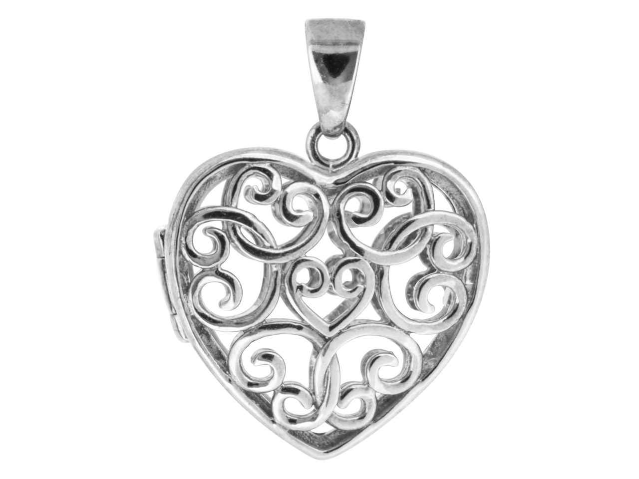 Sterling Silver Pendant Filigree   Heart Locket Style