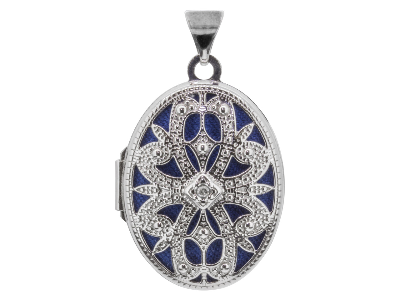 Sterling Silver Locket 21mm        Filigree Oval Set With 0.005ct     Diamond