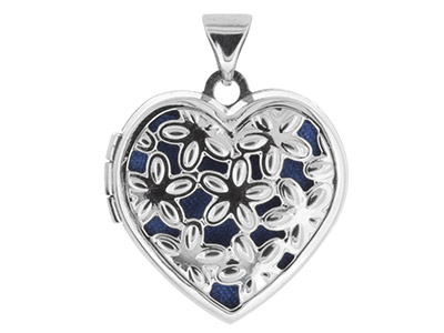 Sterling Silver Locket 18mm        Filigree Heart