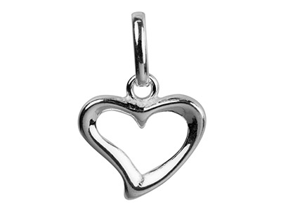 Sterling Silver Pendant Open Heart Design And Oval Jump Ring
