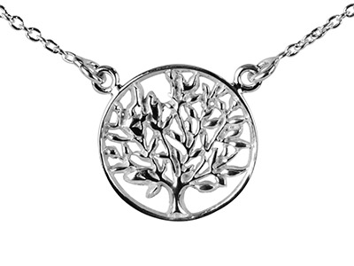 Sterling Silver Necklet Tree Of    Life 1845cm Total Length
