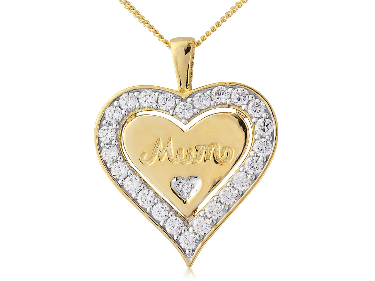 Sterling Silver Pendant Gold Plated Cubic Zirconia Heart Mum And        18