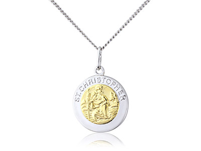 Sterling-Silver-St-Christopher-----Go...