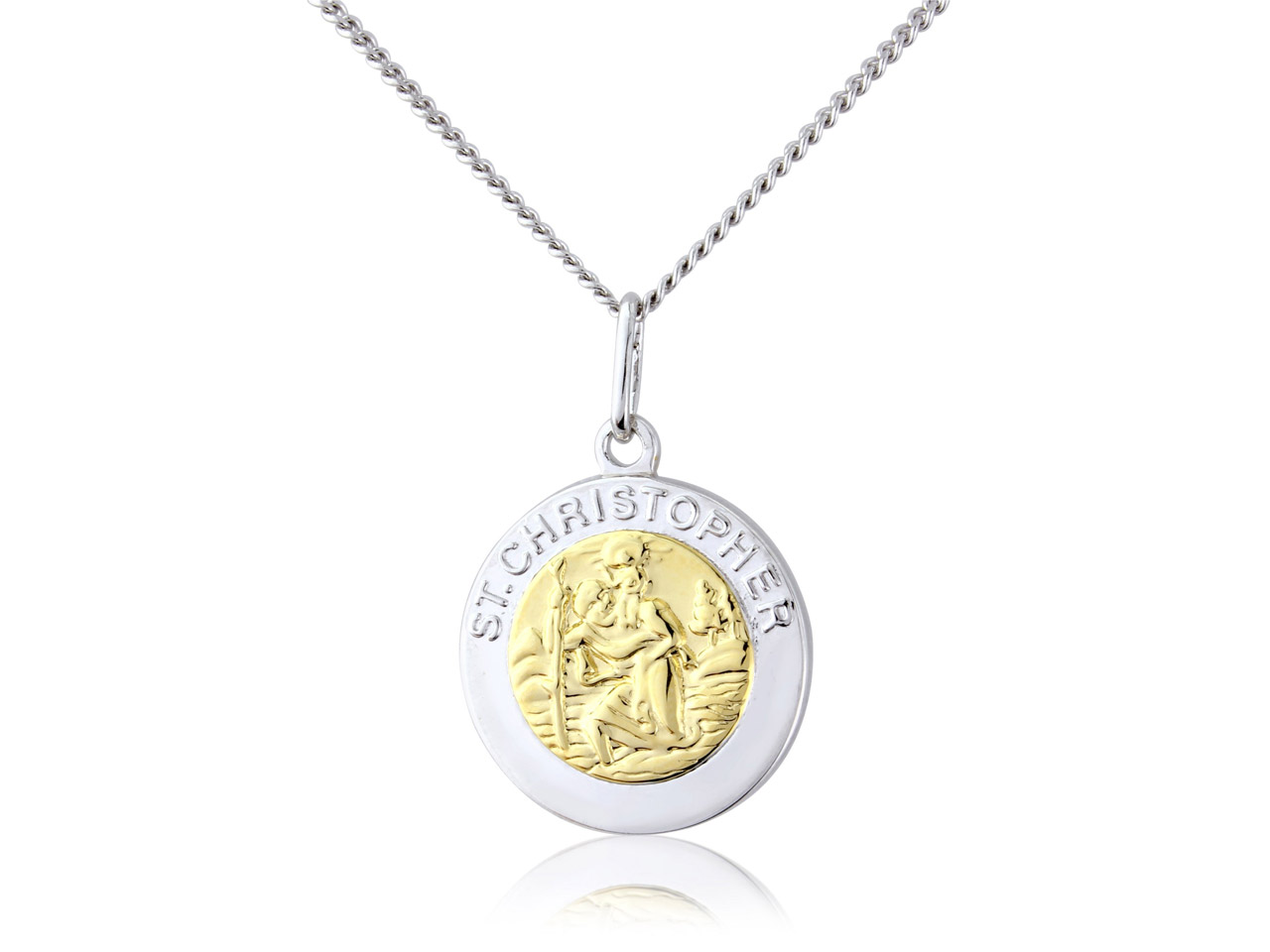 Sterling Silver St Christopher     Gold Plated And 18