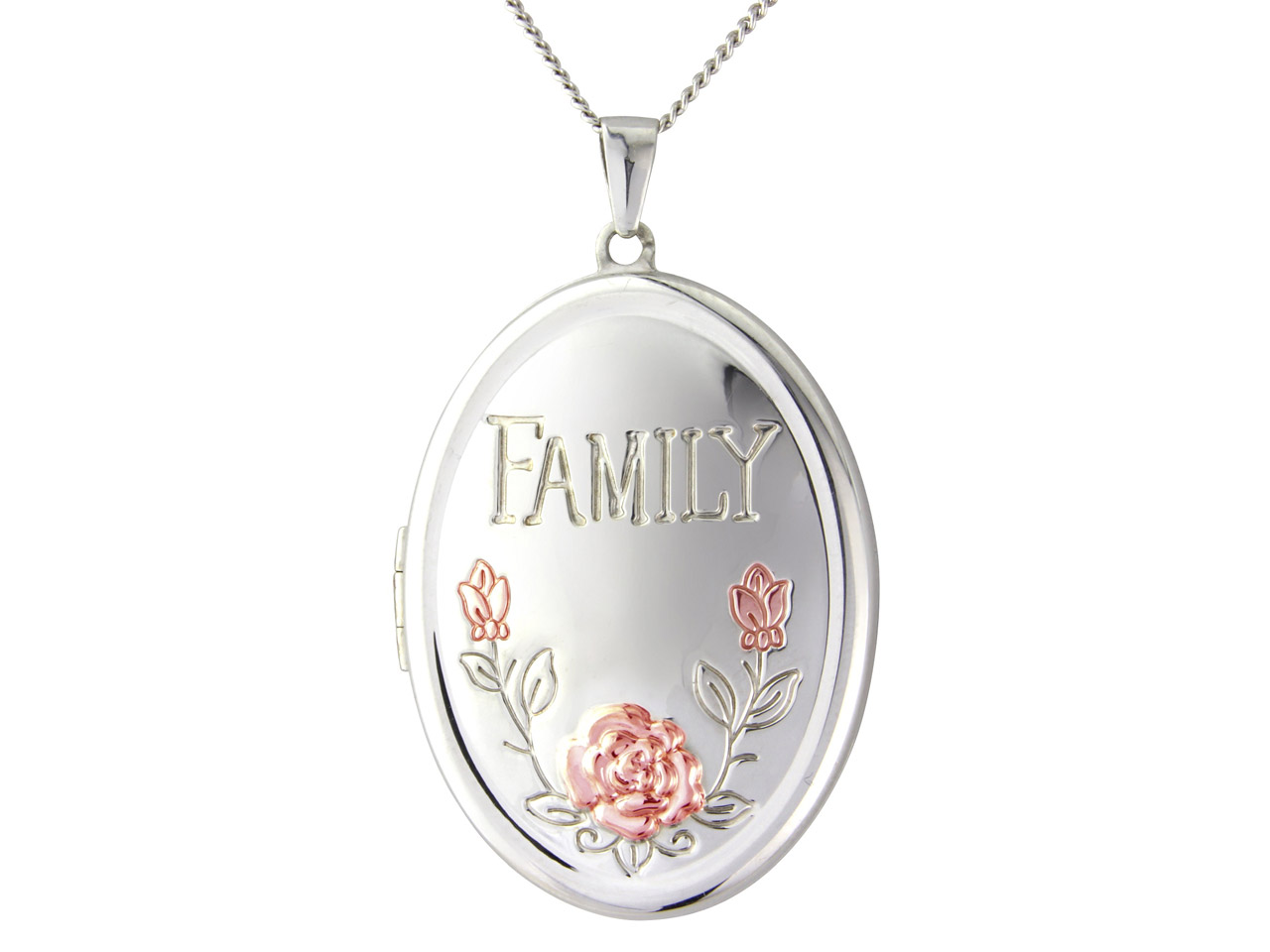 Sterling Silver Locket Family Holds Up To 4 Photographs And Chain