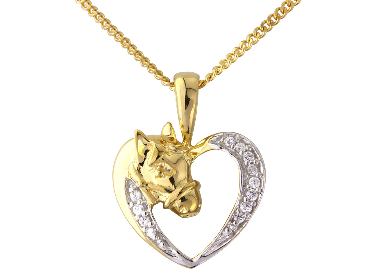 Sterling Silver Pendant Gold Plated Horse Cubic Zirconia And 18