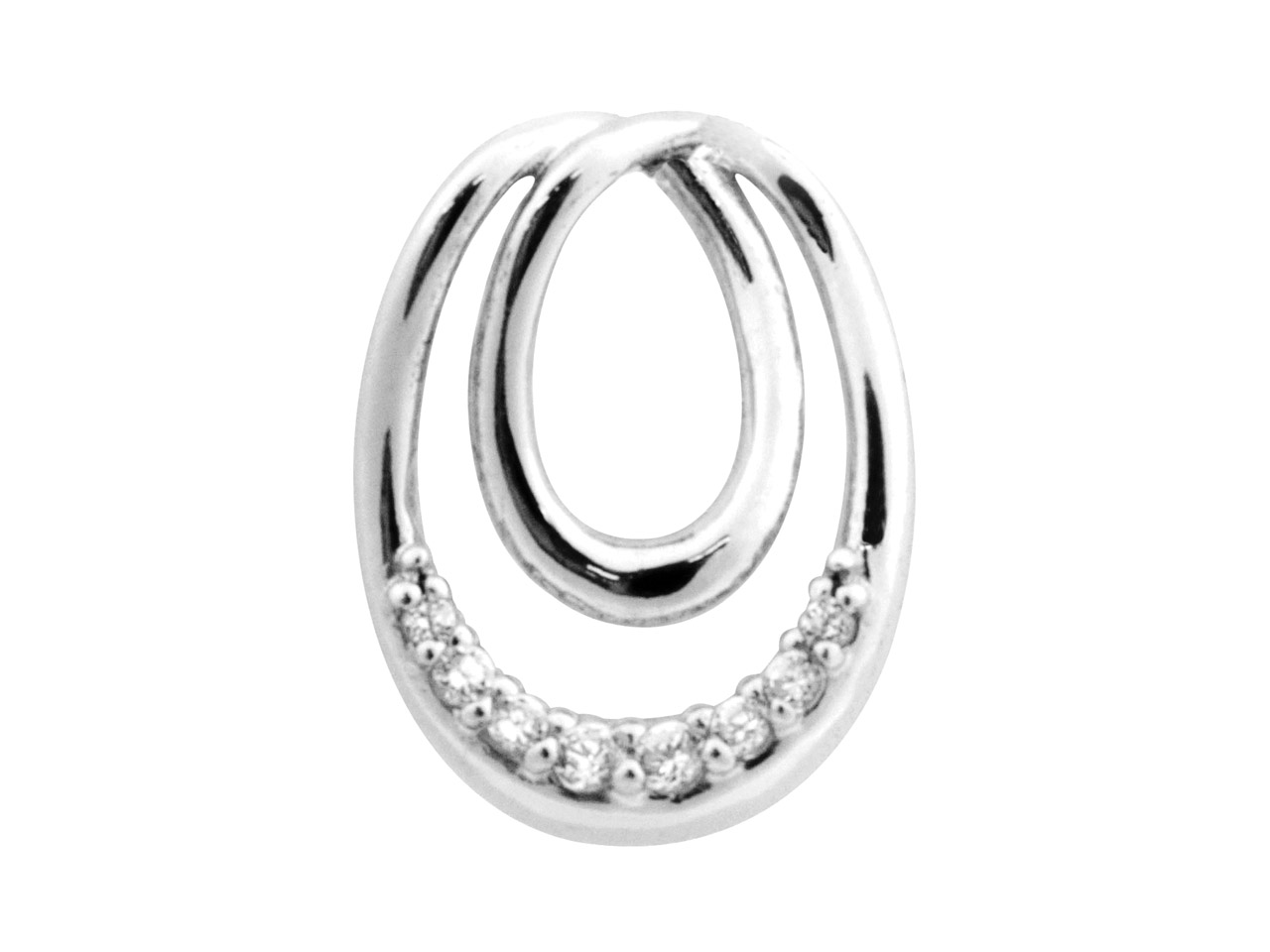 Sterling Silver Pendant            Cubic Zirconia Eternal Loop 8      Graduated White Cz's