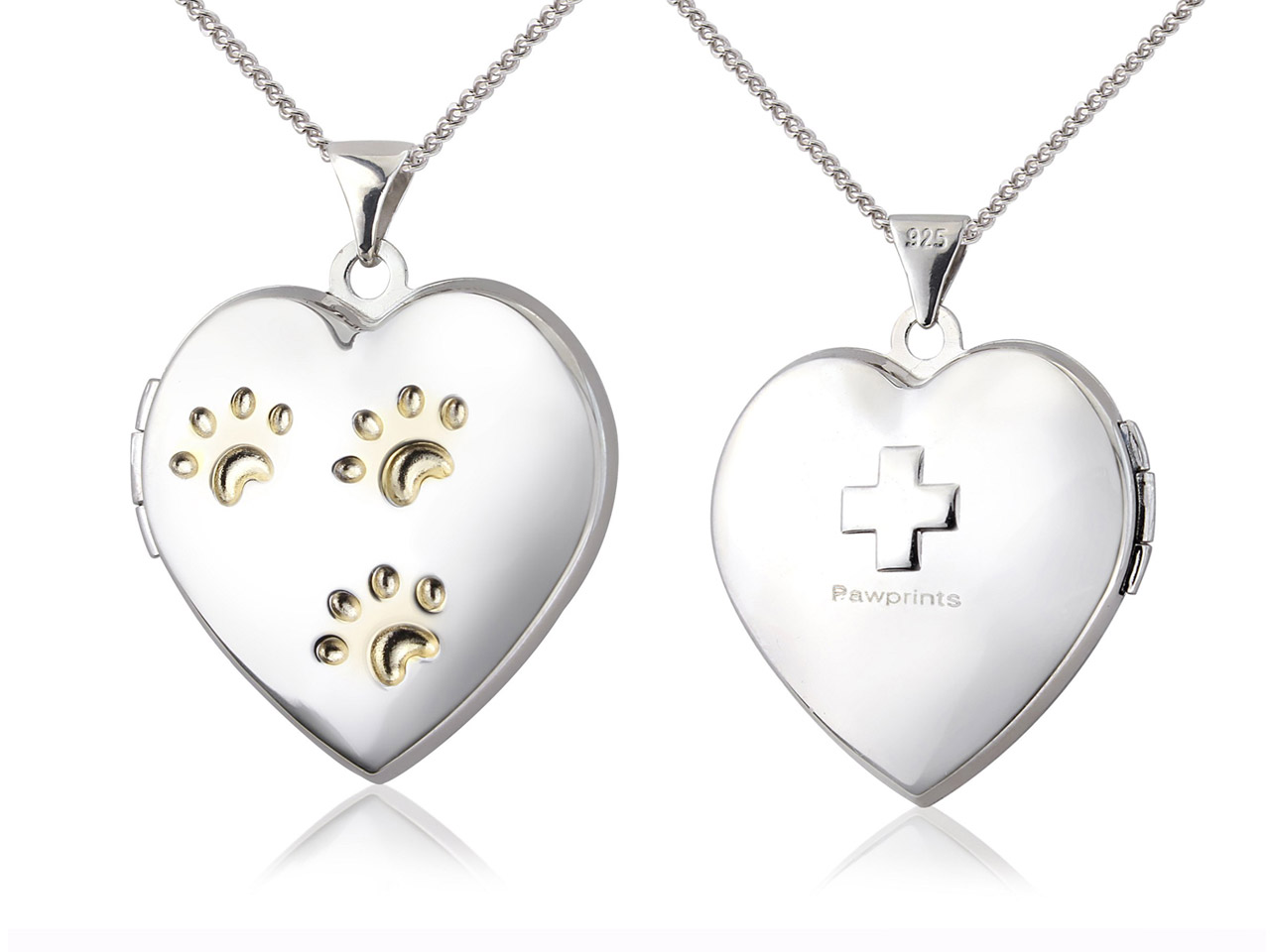 Sterling Silver Locket Blue Cross  Animal Charity Paw Print Heart And 18