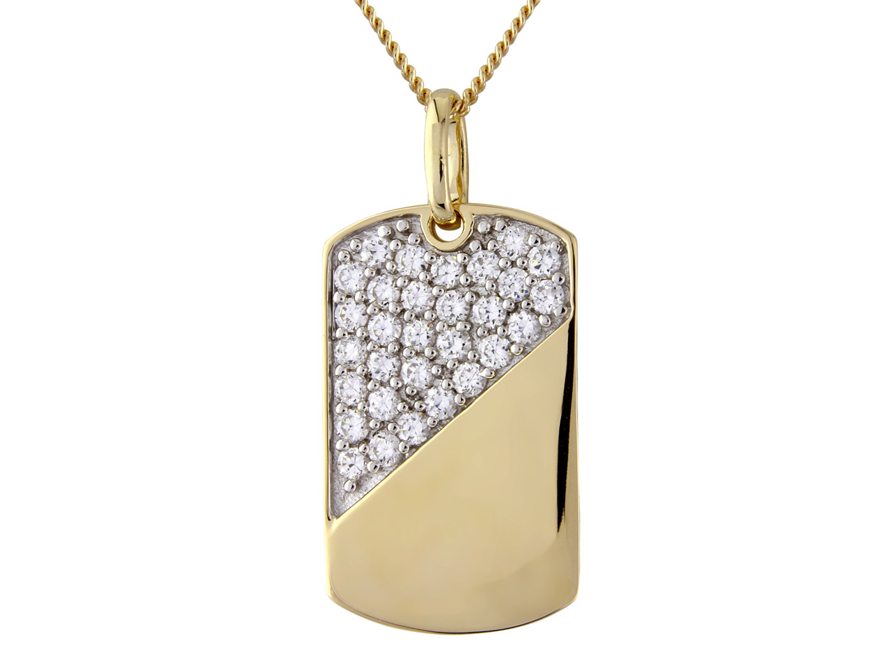Sterling Silver Pendant Gold Plated Cubic Zirconia And 18