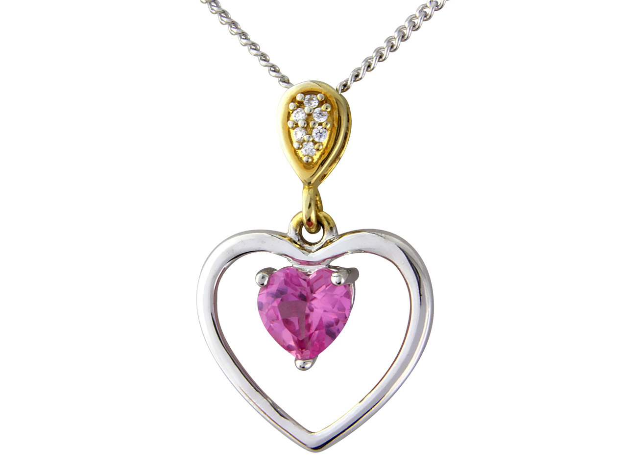 Sterling Silver Pendant Pink       Crystal And Cubic Zirconia And     18