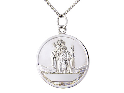 Sterling-Silver-St-Christopher-And-18...