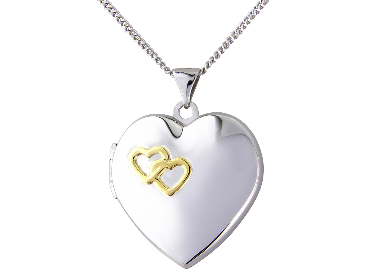 Sterling Silver Locket Heart Yellow Rhodium And 18
