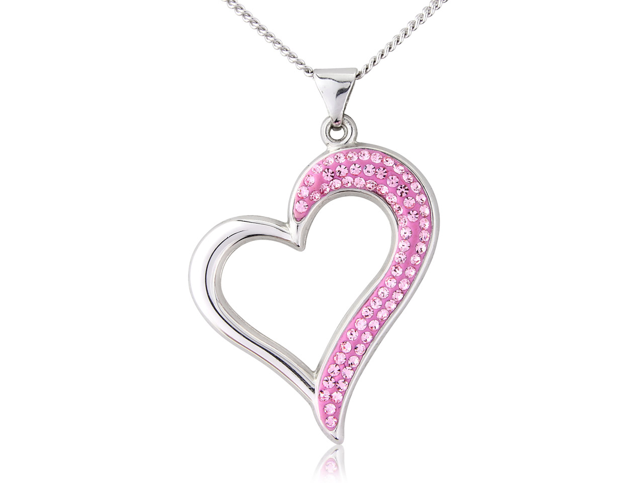 Sterling Silver Pendant Pink       Crystal Heart And 18