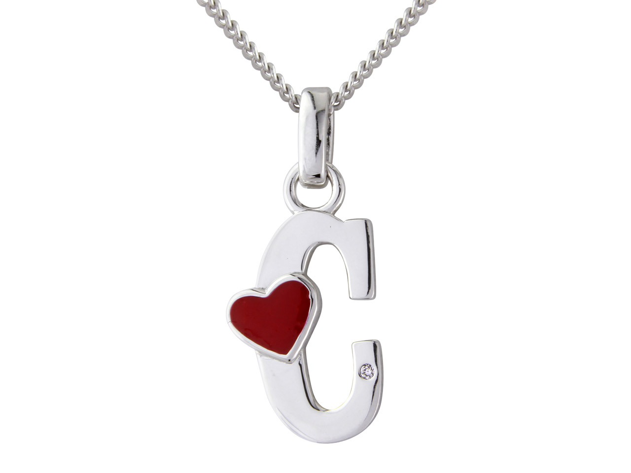Sterling Silver Pendant Diamond    Initial C And 18