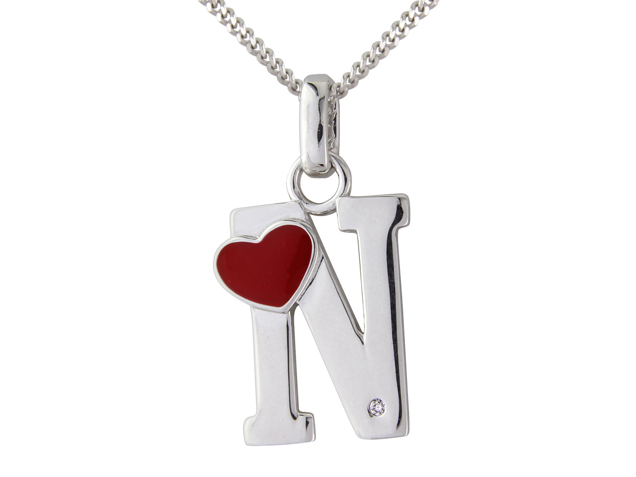 Sterling Silver Pendant Diamond    Initial N And 16