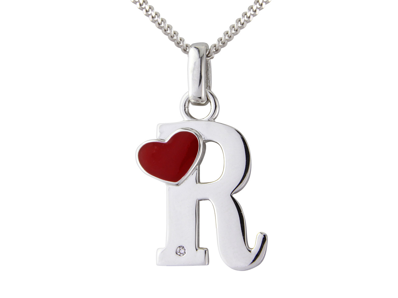 Sterling Silver Pendant Diamond    Initial R And 16