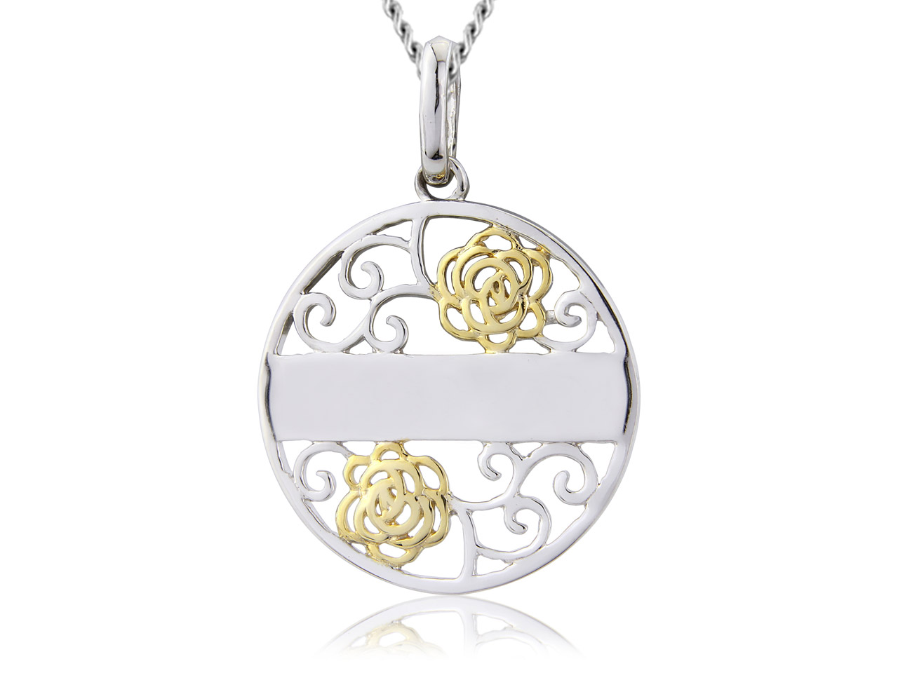 Sterling Silver Pendant Gold Plated Filigree Message And 18
