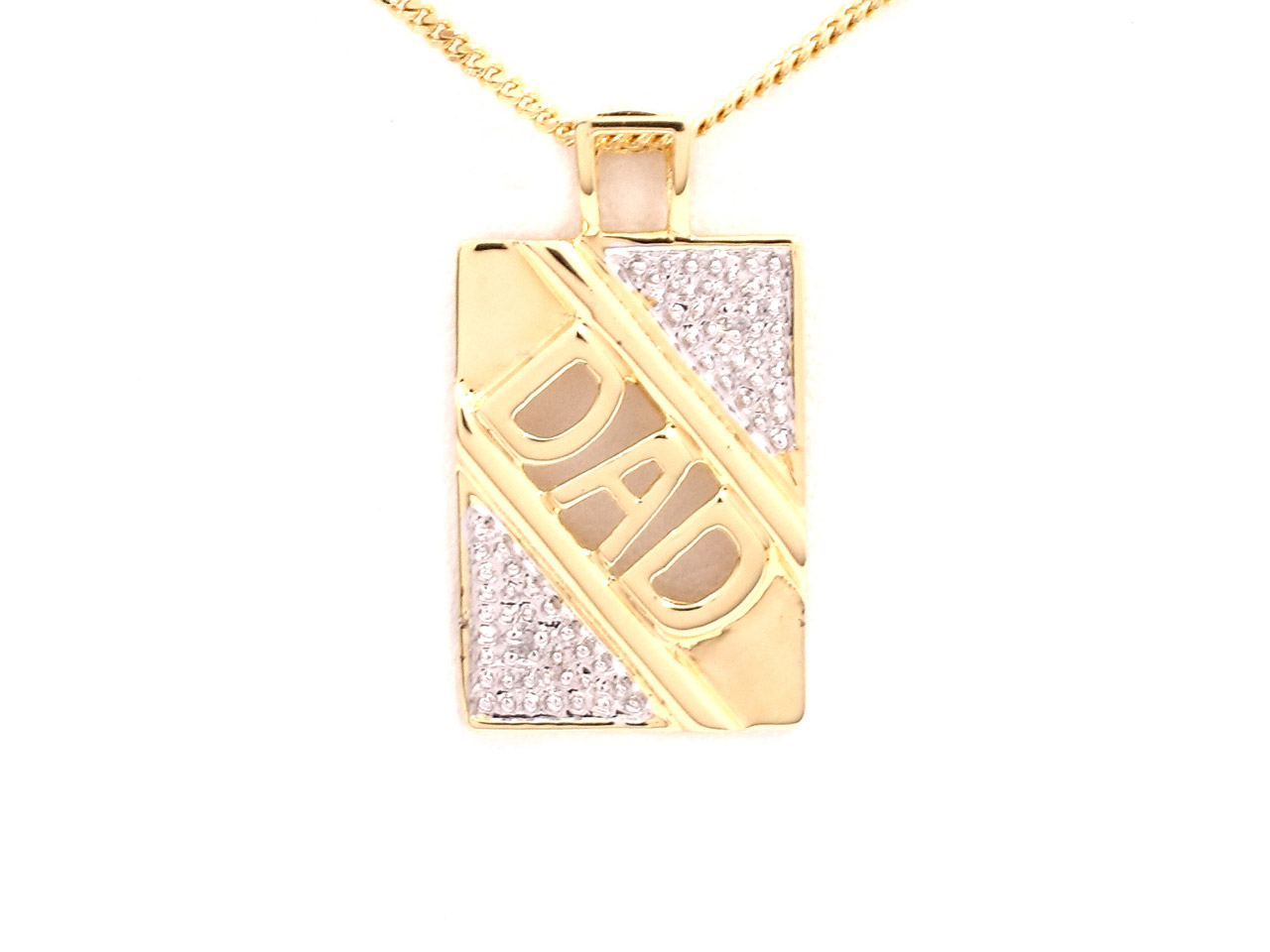 Sterling Silver Pendant Gold Plated Dad And 18