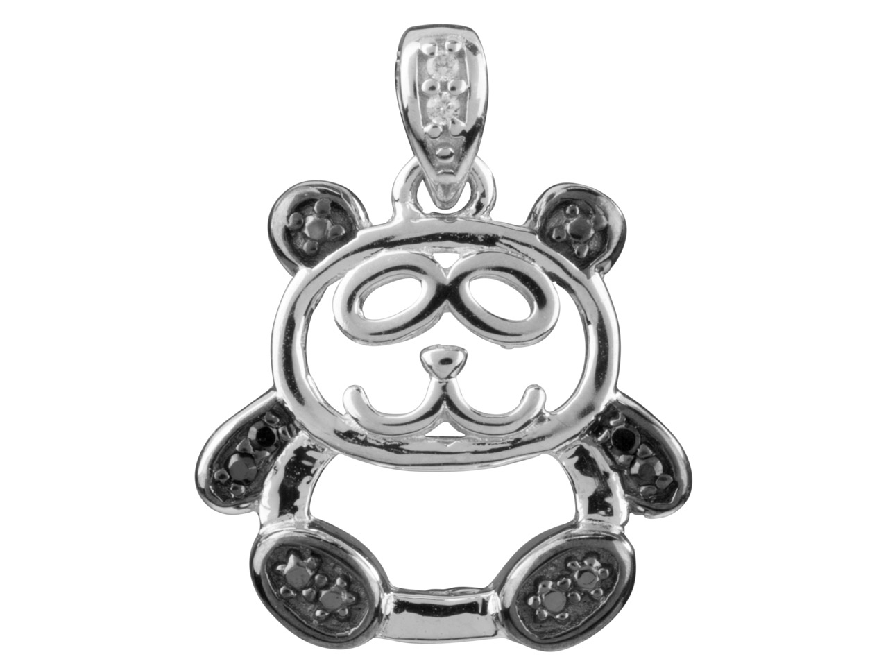 Sterling Silver Pendant Open Design Panda Black And White               Cubic Zirconia Set