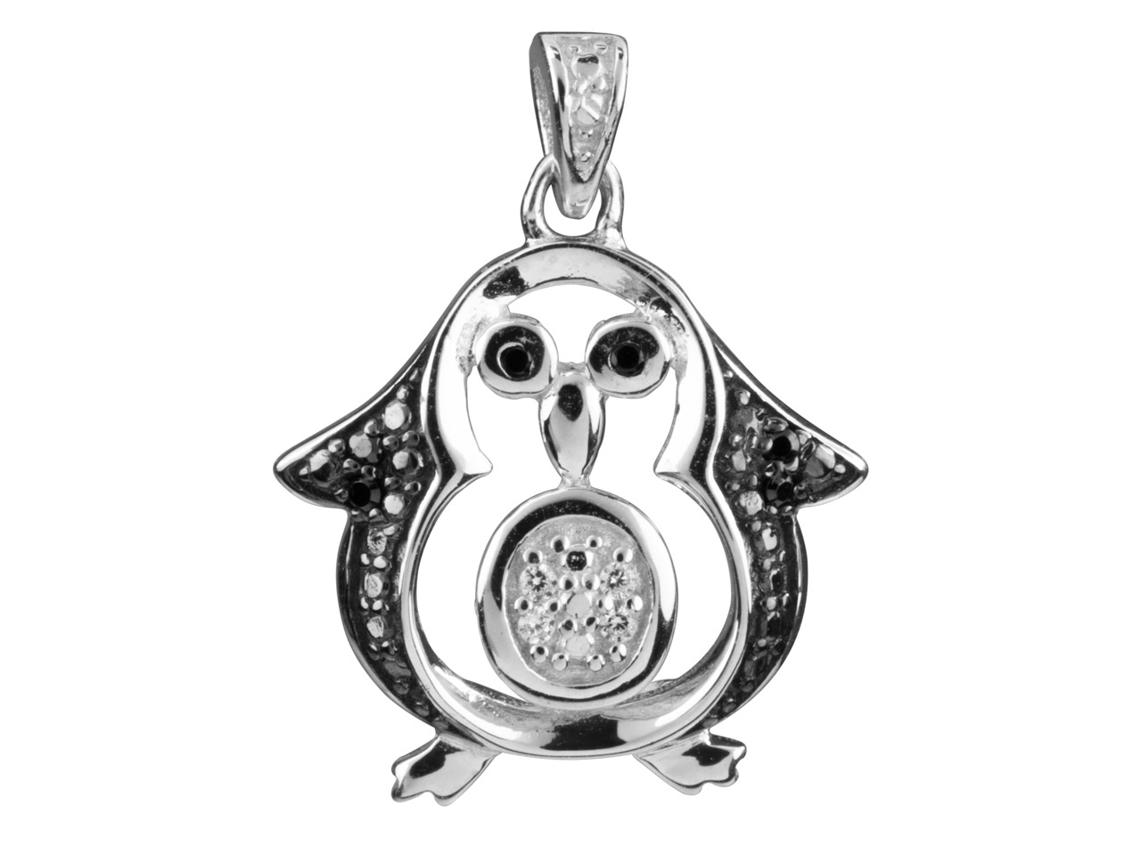 Sterling Silver Pendant Open Design Penguin Black And White             Cubic Zirconia Set