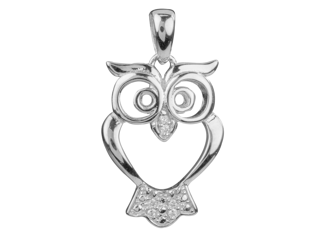 Sterling Silver Pendant Open Design Owl Cubic Zirconia Set
