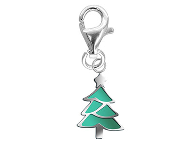 Sterling Silver Charm Enamelled    Christmas Tree With Lobster Catch