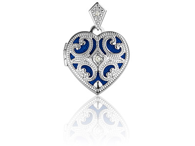 Sterling Silver Locket 15mm Heart  Vintage Style Cubic Zirconia Set   Blue Insert