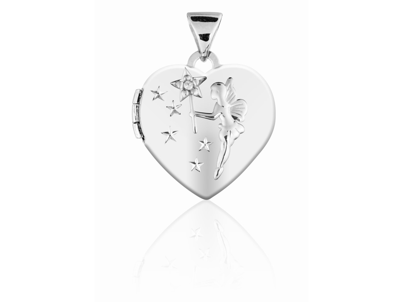 Sterling Silver Locket 15mm Heart  Fairy And Stars Diamond Set
