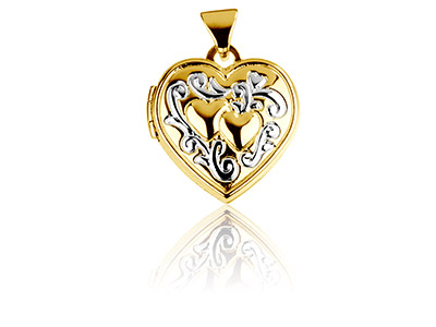 Sterling Silver Locket 15mm Heart  Yellow Rhodium Hearts And Ribbons
