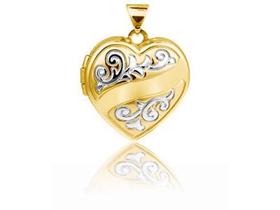 Sterling Silver Locket 18mm Heart  Yellow Rhodium Hearts And Ribbons
