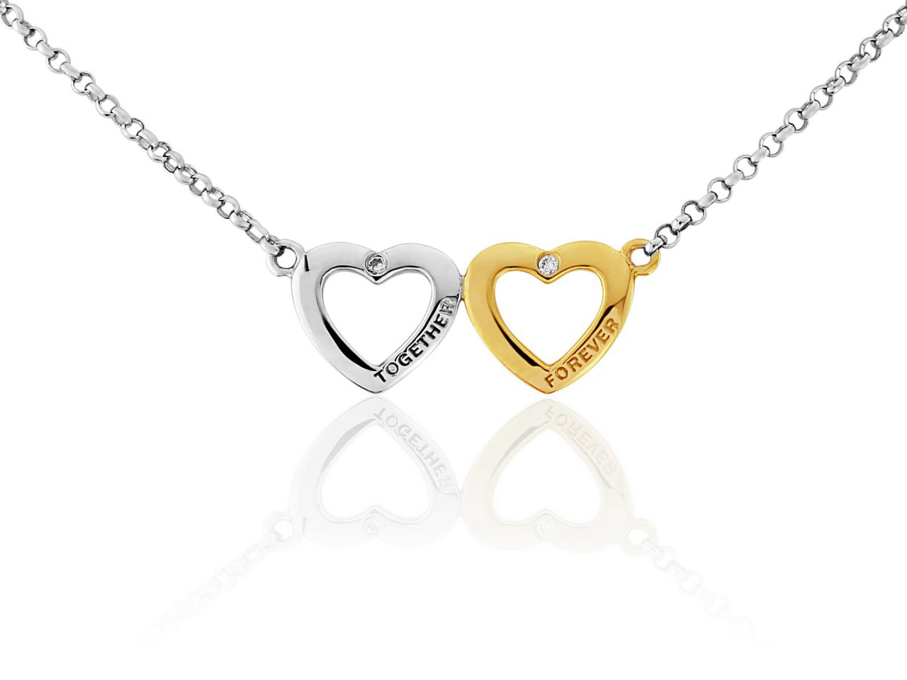 Sterling Silver Necklet Gold Plated Double Heart Cubic Zirconia Set     Together Forever