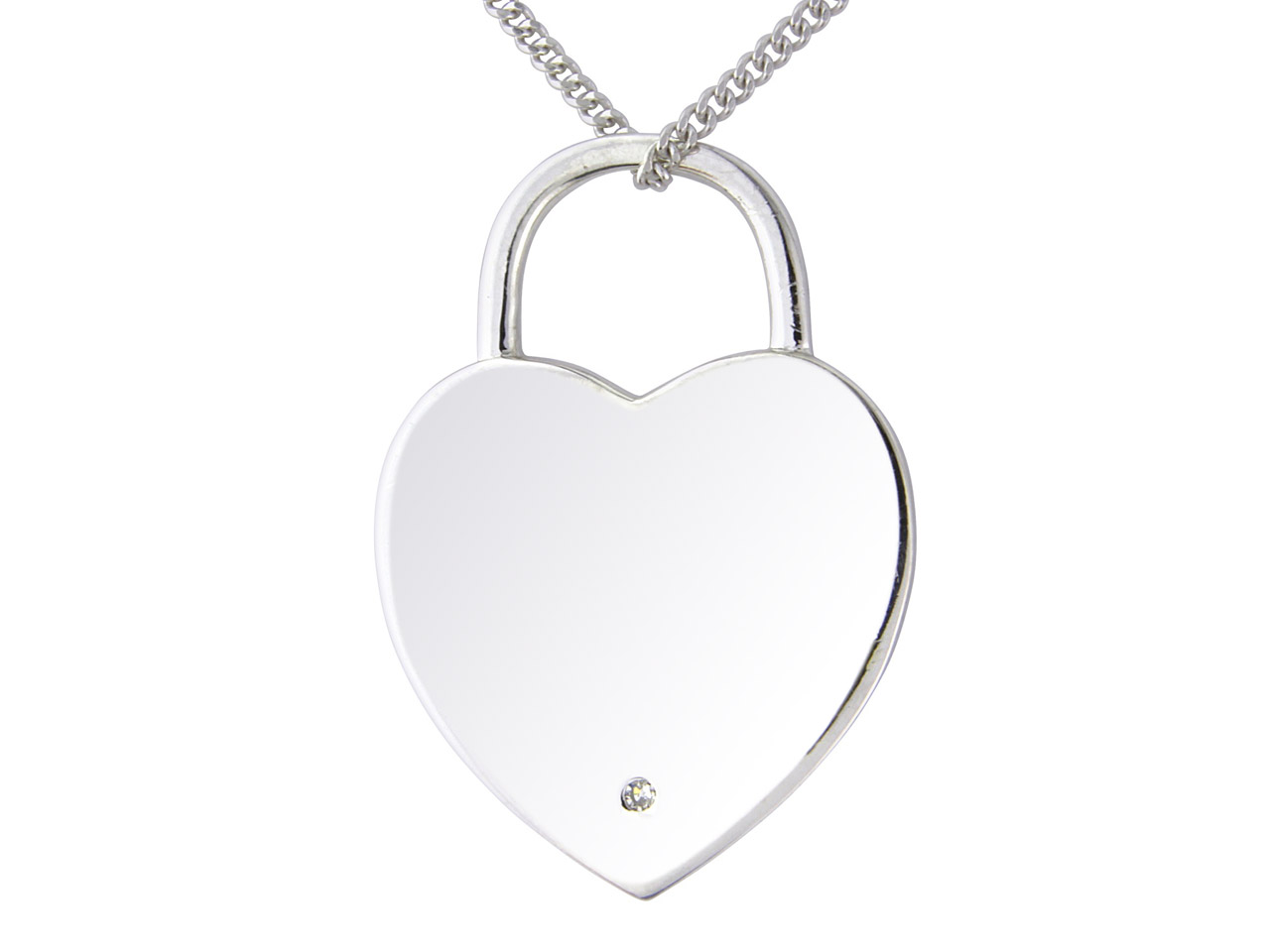 Sterling Silver Pendant Padlock    Style Diamond Set And 18
