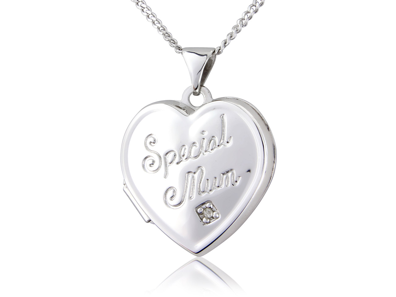 Sterling Silver Locket Special Mum Heart Cubic Zirconia Set And       18
