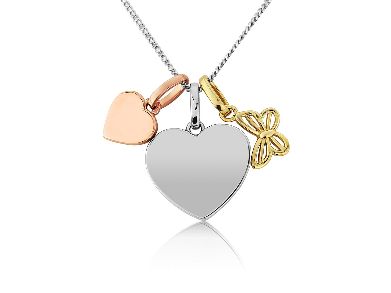 Sterling Silver Pendant Three       Colour And Chain With Butterfly Can Be Engraved