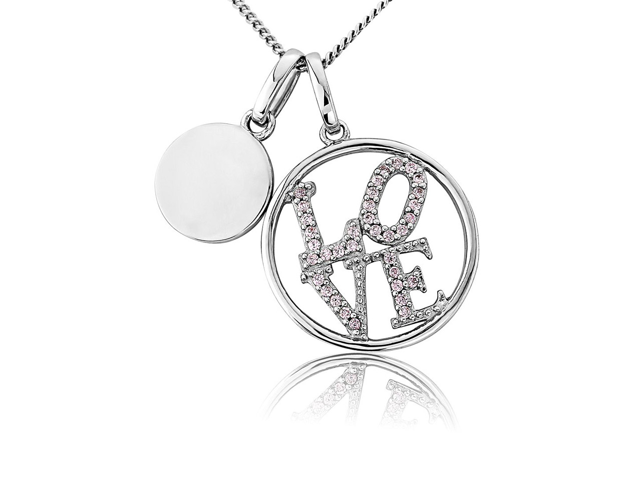 Sterling Silver Pendant Pink       Cubic Zirconia Love And Engravable Disc And Chain