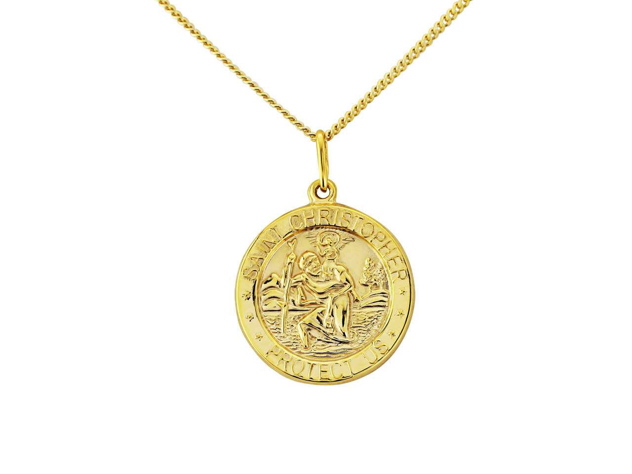 Sterling Silver Gold Plated        St Christopher Pendant With        18