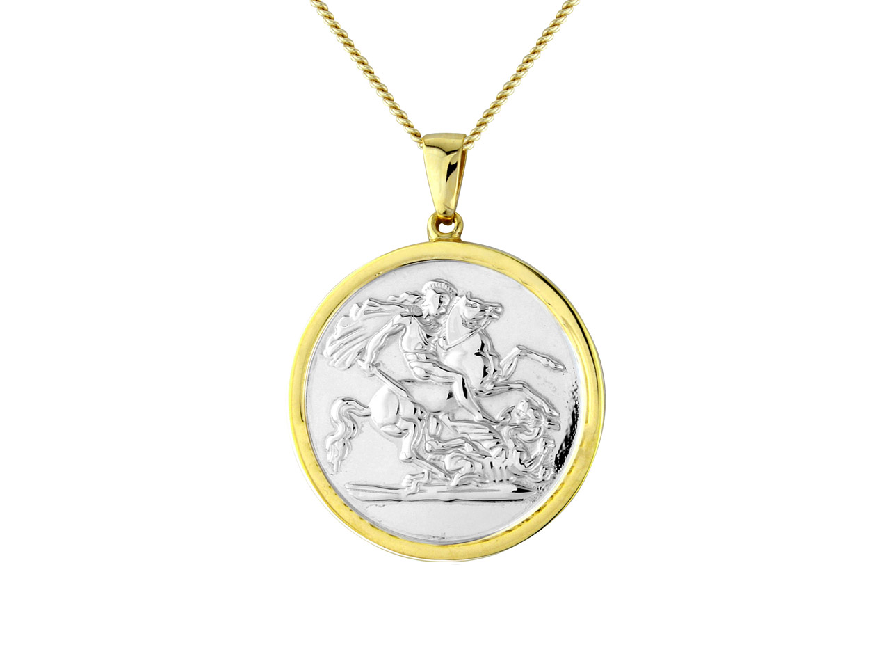 Sterling Silver Gold Plated St.    George And The Dragon Pendant With 20
