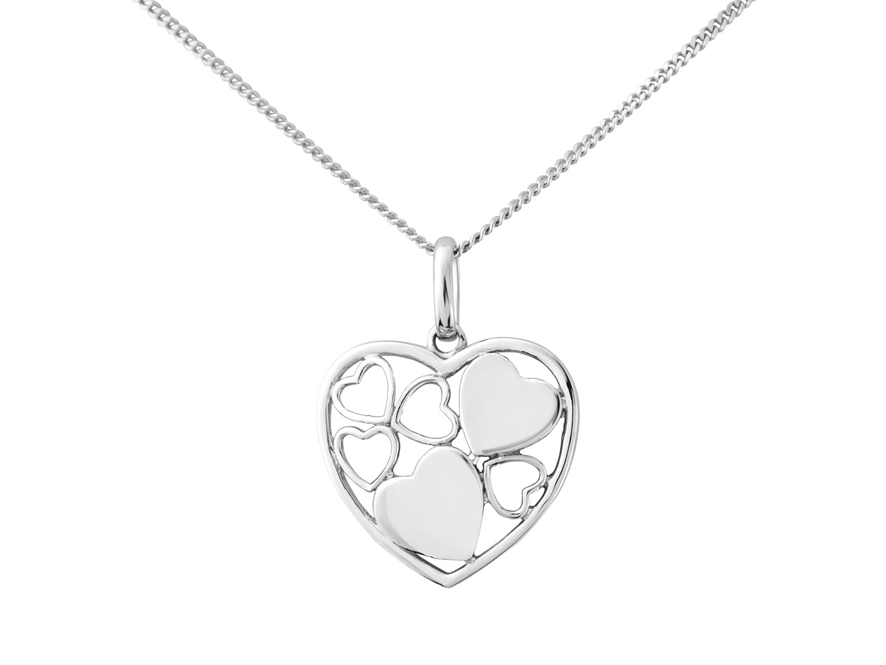 Sterling Silver Filigree Heart     Design Pendant With 18