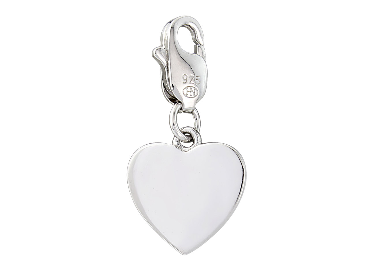 Sterling Silver Plain Heart Charm  With Lobster Clasp Can Be Engraved