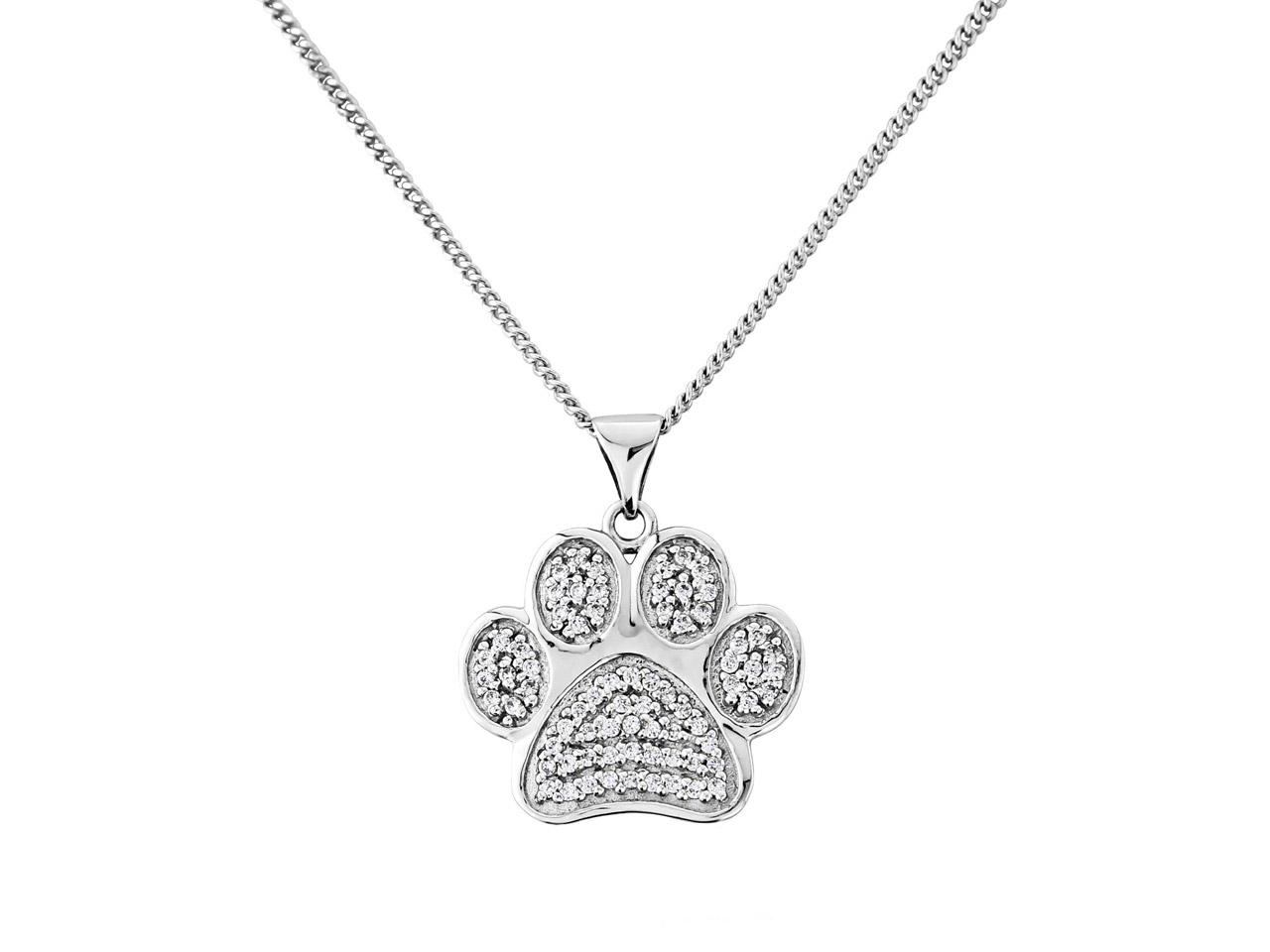 Sterling Silver Cubic Zirconia Set Paw Print Pendant With 18