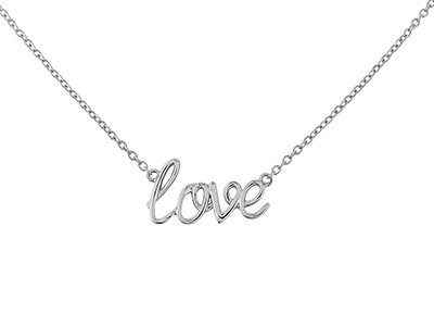 Sterling Silver love Message     Necklet And 1640cm Chain