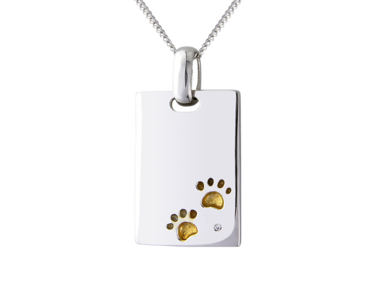 Sterling Silver Cubic Zirconia Set  Dog Tag With Gold Plated Paw Prints With 18