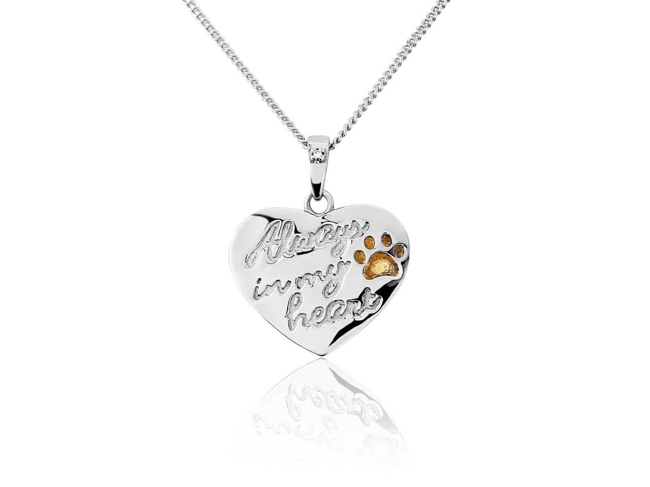 Sterling Silver Cubic Zirconia Set Heart Pendant With Gold Plated Paw Print 'always In My Heart' With    18