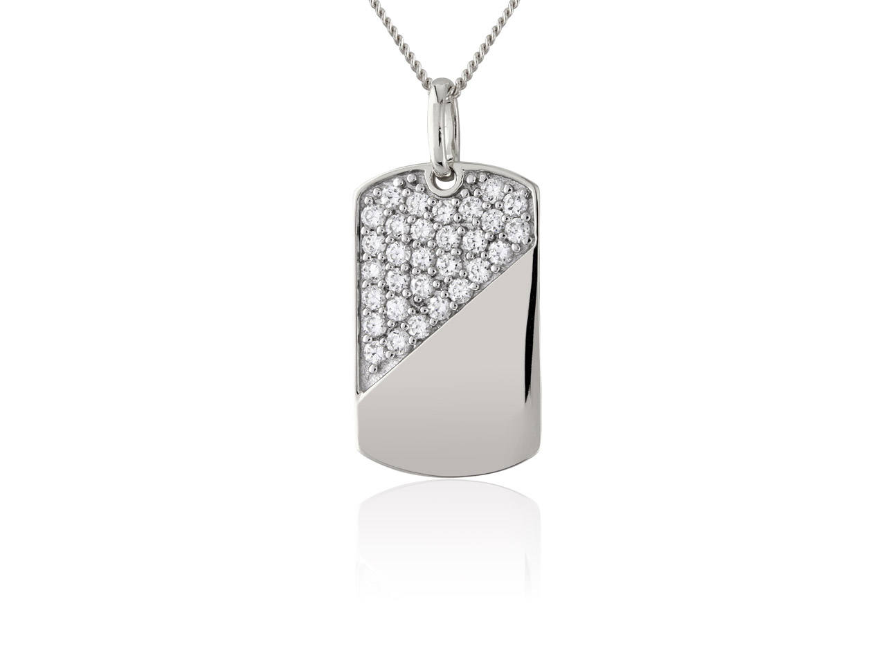 Sterling Silver Cubic Zirconia Set Dog Tag With 20