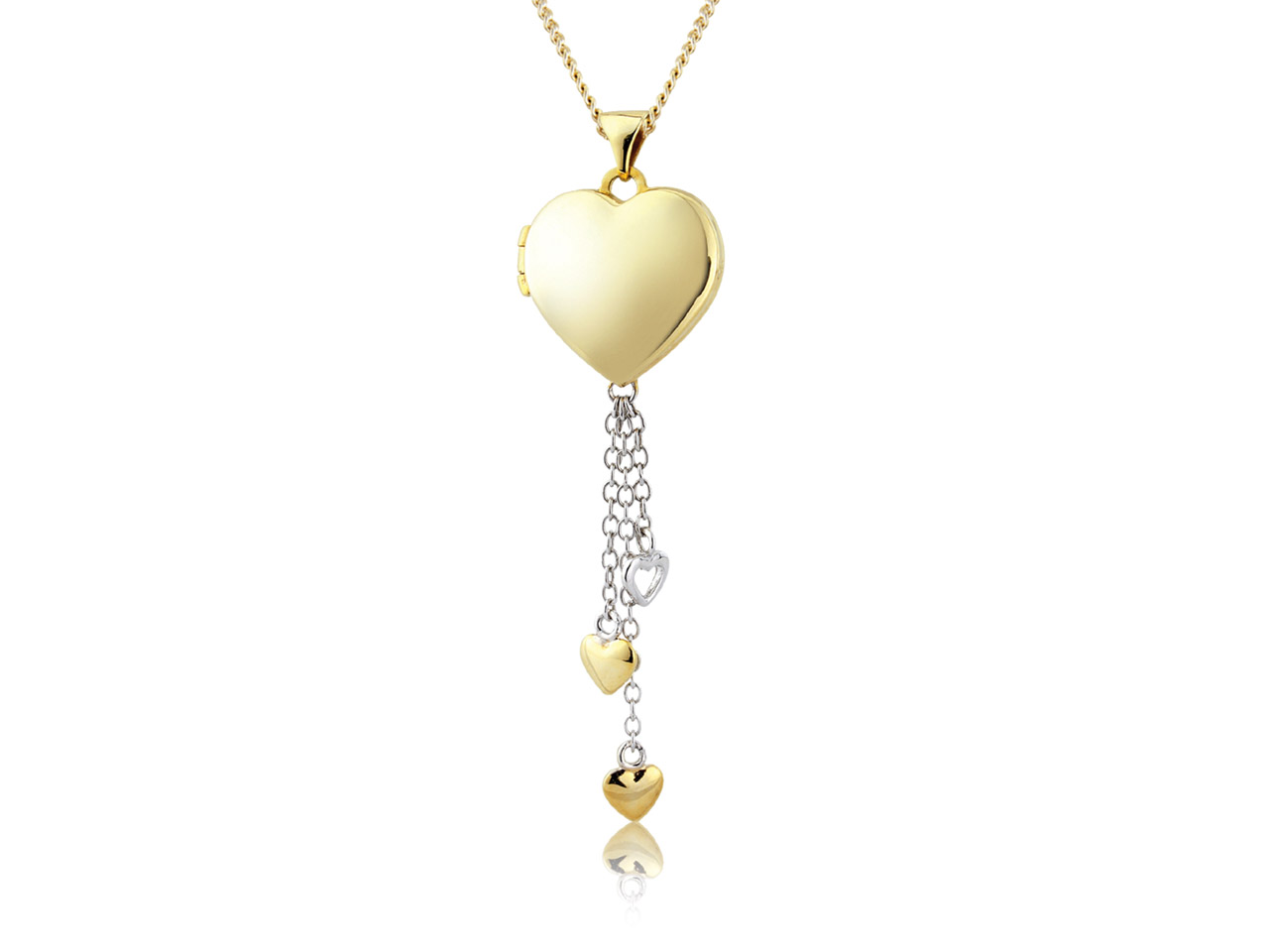 Sterling Silver Gold Plated Heart  Locket With 3 Heart Drops And      18