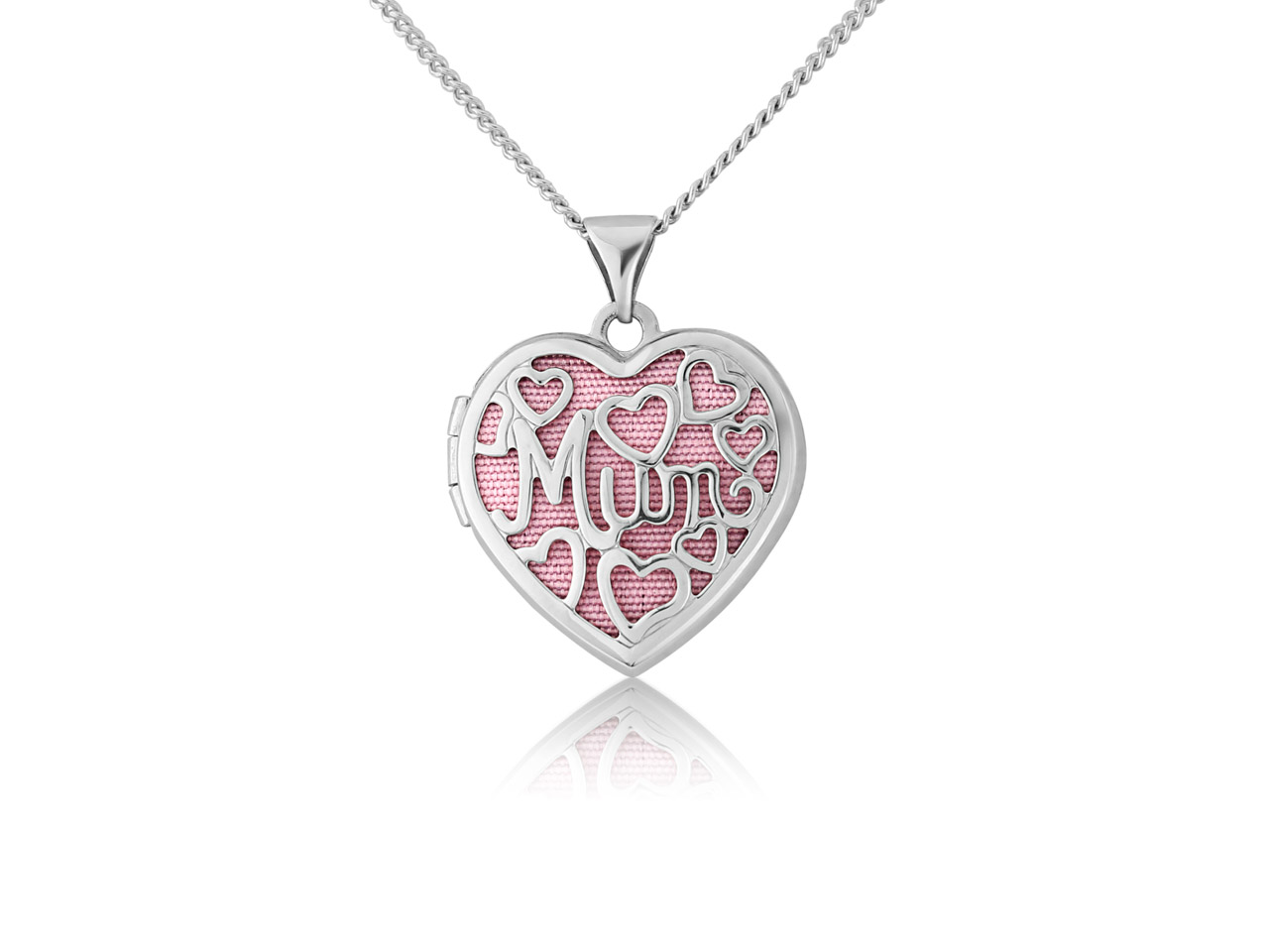 Sterling Silver Heart Filigree Mum Locket With Pink Insert And        18