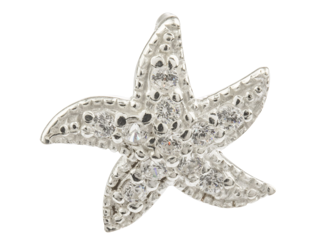 Sterling Silver Starfish Pendant   Set With Cubic Zirconias